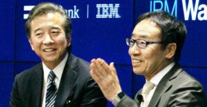 20160219_ワトソンの日本語版提供開始を発表するソフトバンクの宮内謙社長と日本IBMのポール与那嶺社長_日本経済新聞朝刊