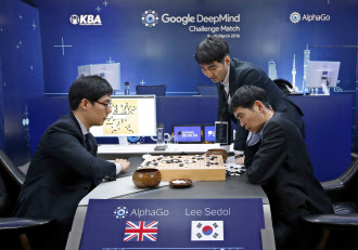20160317_グーグルの人工知能「アルファ碁」とトップ棋士の囲碁対決。第4局は人間が勝利した(2016年3月13日、ソウル)=AP_日本経済新聞電子版