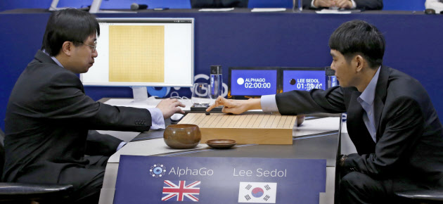 20160310_アルファ碁と対局する韓国の李九段(右)(9日、ソウル)=AP_日本経済新聞朝刊