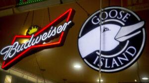 20161122_「グースアイランド」(右)も「バドワイザー」などを持つインベブが買収したクラフトビールだ(ニューヨーク)=ロイター_日本経済新聞朝刊