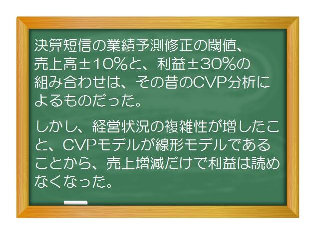 財務分析(入門編)_CVP分析/損益分岐点分析(7)決算短信の業績予想修正の根拠を探る旅②線形モデルで増収率10%かつ増益率30%は1点だけ