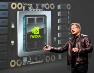 20160412_新型GPU「テスラP100」を発表するファンCEO(5日、サンノゼ)_日本経済新聞朝刊