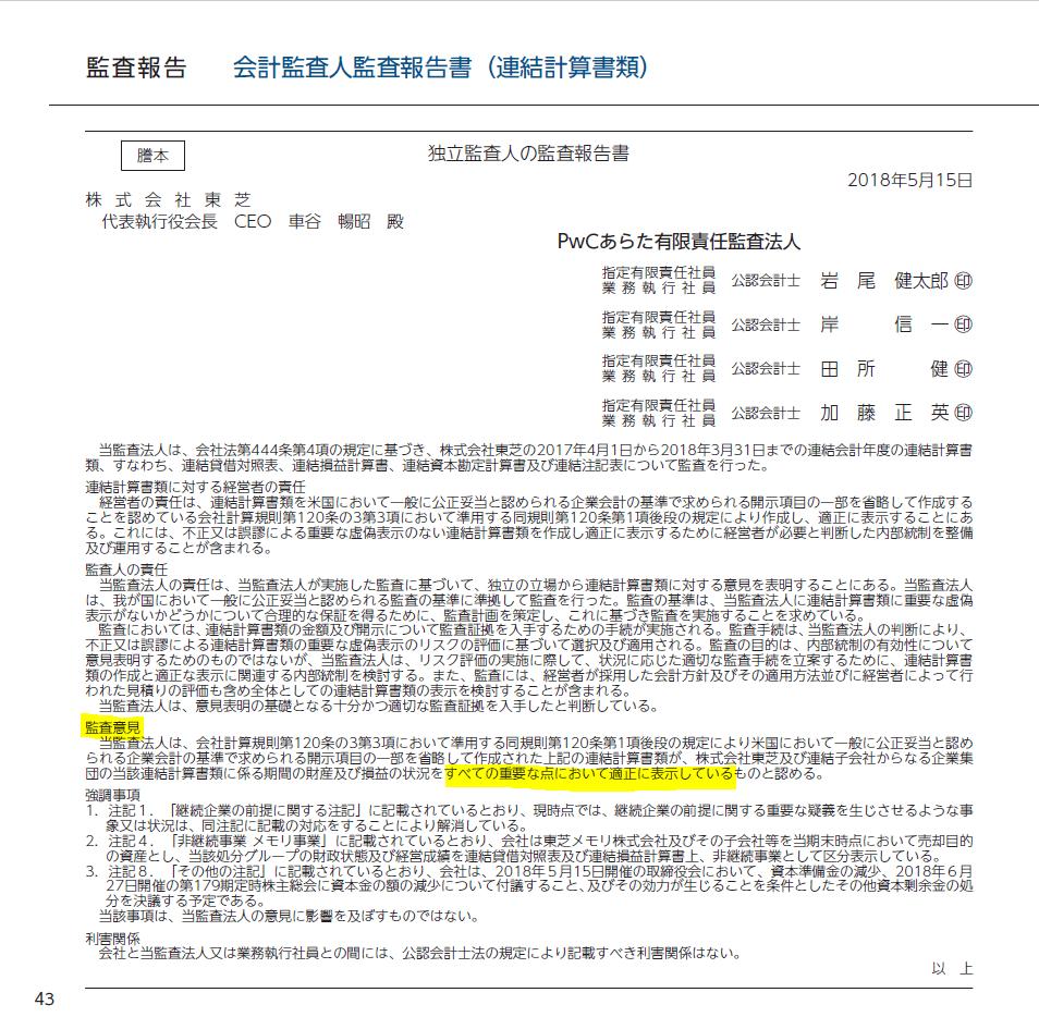 20180706_東芝_第179期 報告書_監査報告